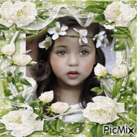 PETITE FILLE ET ROSES BLANCHES