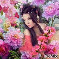 une femme parmi les fleurs