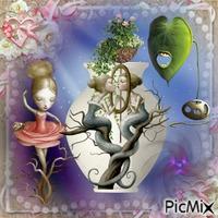 abstrait sur poterie