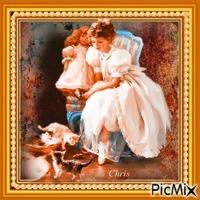 la jeune fille et ces chatons