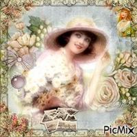 Femme aux tons pastels vintage
