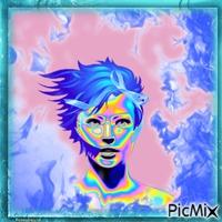 Mehrfarbiges Portrait