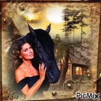 Une femme et un cheval