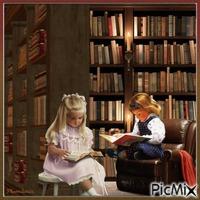 Deux enfants dans une bibliothèque.
