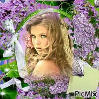 Cadre lilas avec Portrait Femme blonde
