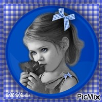 portrait enfant style vichy bleu