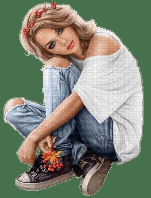 Femme assise jean et baskets