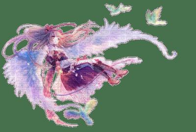 anime girl angel birds