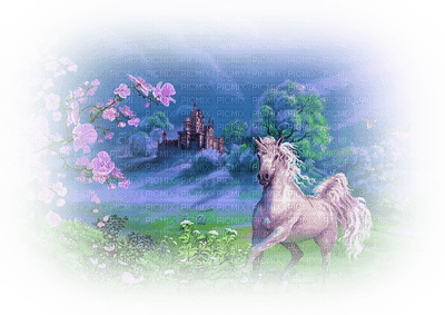 unicorn fantasy background fond spring printemps frühling primavera весна wiosna paysage landscape tube