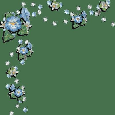 flowers blue border fleur bleu deco