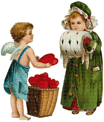 St. Valentin couple love heart vintage children_Saint Valentin couple amour cœur enfants