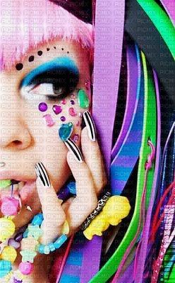 multicolore feme colors art makeup encre manicure arc en ciel edited by me