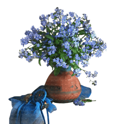 Blue flower.Fleur.Bleu.Deco.Bouquet.Vase.Pot.Victoriabea