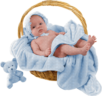 Kaz_Creations Baby Boy In Basket Blue