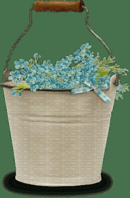 minou-easter-bucket with blue flowers-decoration-Décoration de pâques-seau à fleurs bleues-decorazione Pasqua-secchio con fiori blu-spann med blommor blå-dekoration