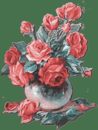 soave deco flowers rose vintage pink teal