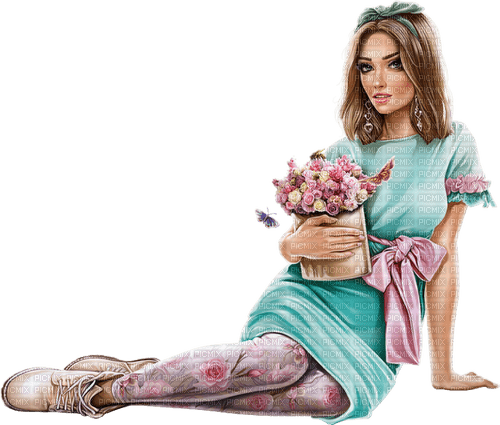 Woman with flowers. Leila