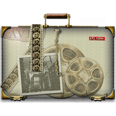 suitcase valise koffer bag movie film deco tube sepia vintage retro filmstrip filmrolle