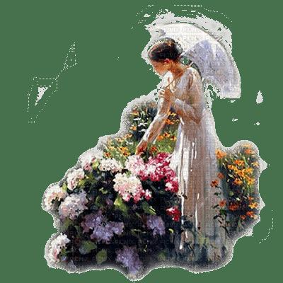 femme jardin fleur woman garden flowers