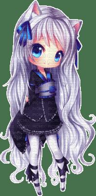 Chibi neko, chat animal animaux bleu blanc fille manga