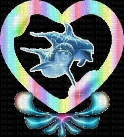 Colorful Dolphins Heart Black BCKGRND