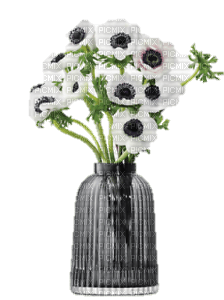 grey vase with flowers, sunshine3