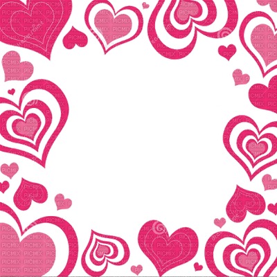 pink hearts frame cadre coeur