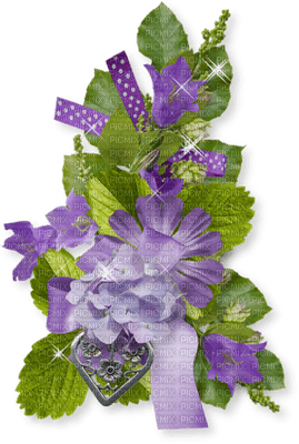 Fleurs mauve et rubans