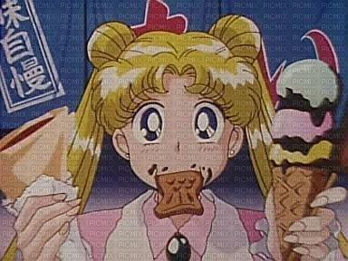 Usagi eating Sailor Moon S Hearts in Ice