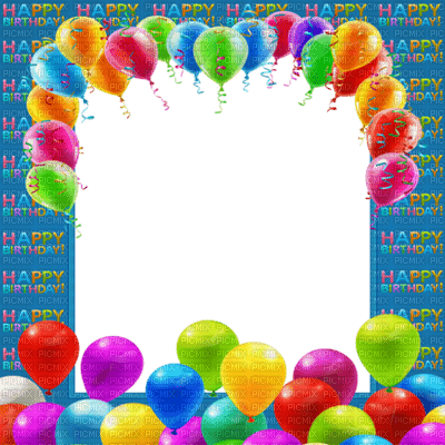 frame cadre birthday anniversaire fond balloon ballons blue rahmen