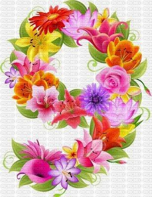image encre numéro 9 fleurs bon anniversaire edited by me