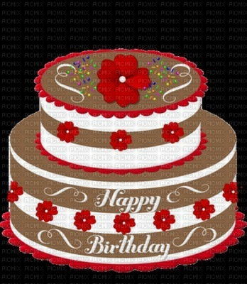 Image Ink Happy Birthday Cake Flowers Rose Texture Color Chocolate