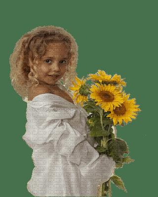 enfant fillette   tournesol child girl sunflowers
