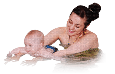 Kaz_Creations Mother Child Family Swimming
