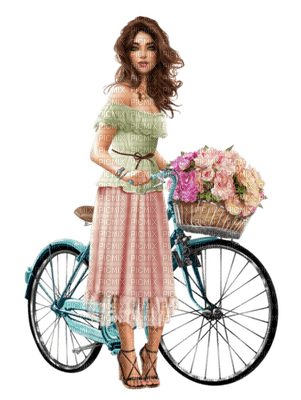 woman bicycle flowers  femme vêlo fleur