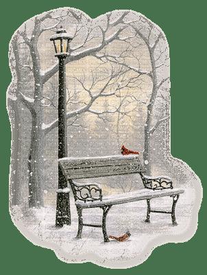 chantalmi  hiver winter neige snow noël paysage banc  lampadaire