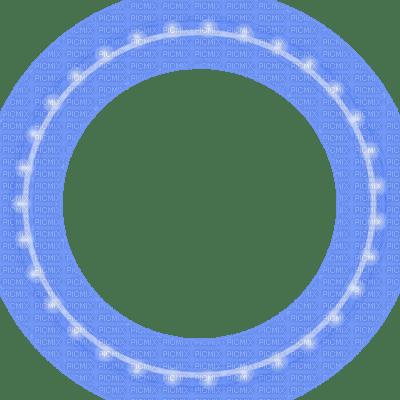 blue glowing christmas lights circle frame, blue christmas ...