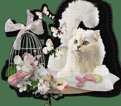 white cat deco butterfly flowers chat blanc papillon fleurs