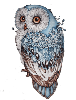 hibou charu rappel bird vogel eule hibou owl scrap blau braun blue bleu brun picmix. Black Bedroom Furniture Sets. Home Design Ideas