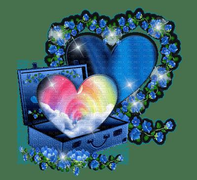 Kaz_Creations Deco Luggage Heart Flowers Blue
