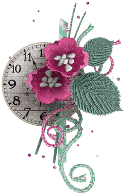 Horloge et fleurs