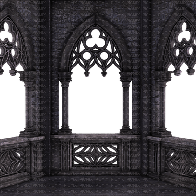 Gothic Balcony Building Open Windows Png