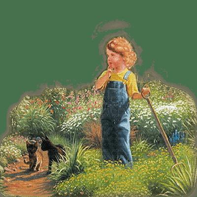 vintage summer child garden enfant jardin
