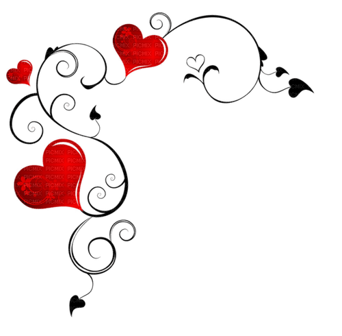 love hearts corner coin amour coeur