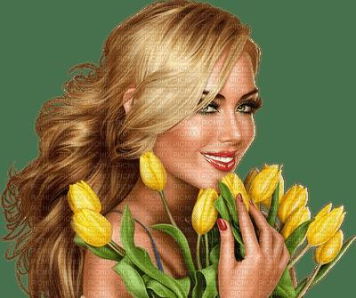 femme,fleur, Tulipes jaunes,Adam64 ,3D fille , fashion