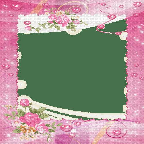 pink frame flowers deco cadre rose fleurs