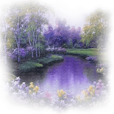 purple landscape pond and flowers