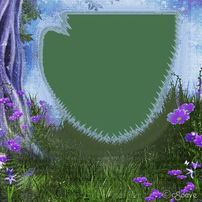soave frame spring tree flowers field purple green