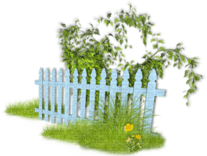 Picket Fence, Fences, Easter, Blue, Deco, White, Green, Decoration - Jitter.Bug.Girl