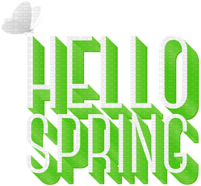 HELLO SPRING TEXT GREEN